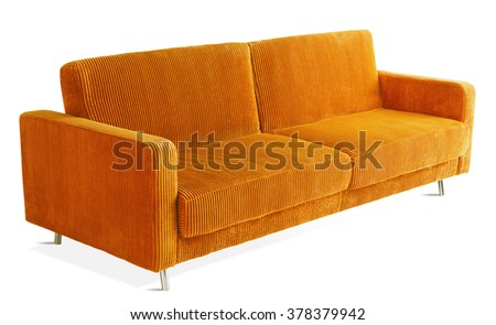 ORANGE ADJUSTABLE COUCH THAT TURNS INTO BED , ISOLATED ON WHITE
