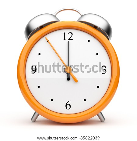 Orange alarm clock 3d. Icon. Isolated on white - stock photo