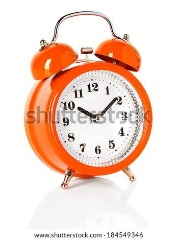 orange alarm clock isolated on white background - stock photo