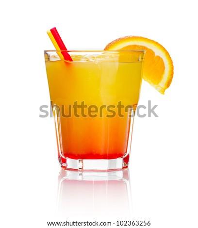 Orange alcohol cocktail with orange fruit slice isolated on white background - stock photo