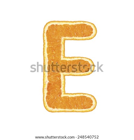 Orange alphabet isolated on white background (Letter E)  - stock photo