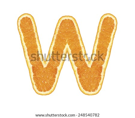 Orange alphabet isolated on white background (Letter W)  - stock photo