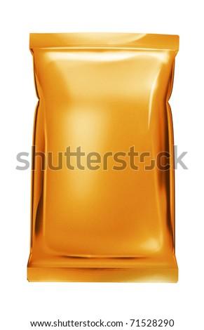 orange aluminum foil bag - stock photo