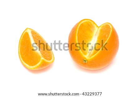 Orange and a section. Isolated on white background. - stock photo