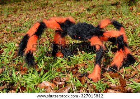 Orange and Black decorative Halloween spider in outdoor setting