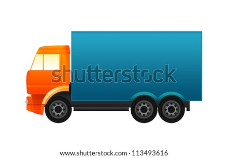 Orange and blue truck