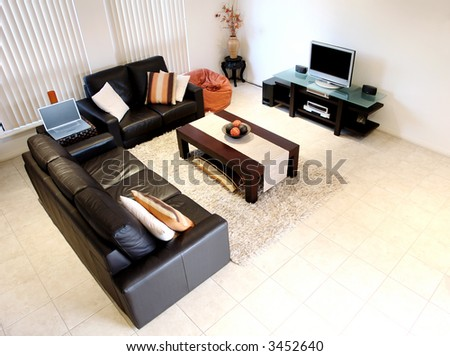 Orange and Brown Interior - stock photo