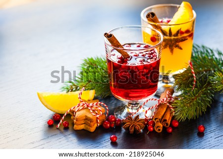 Orange and cranberry punch for winter and Christmas - stock photo