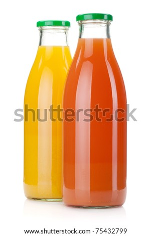 Orange and grapefruit juice bottles. Isolated on white background - stock photo