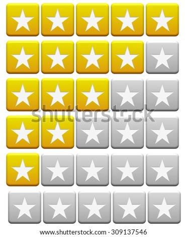 orange and gray Review Buttons from 5 stars to 0 stars - stock photo