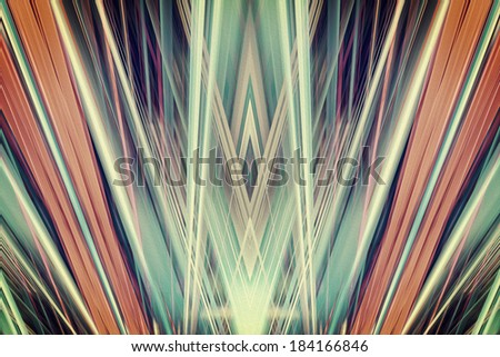 Orange and green Art Deco spotlights background - stock photo