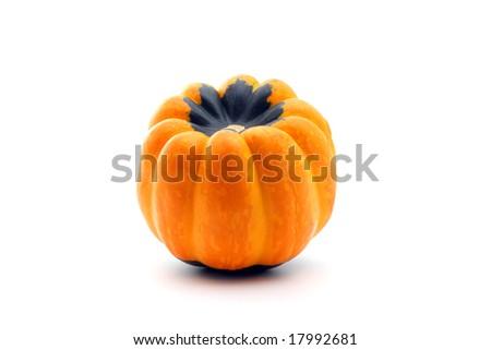 Orange and green autumn squash isolated on white - stock photo