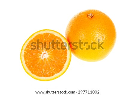 orange and half fruit isolated on write background - stock photo