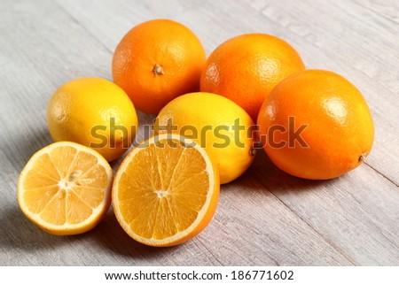 Orange and Lemon Fruit - stock photo