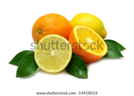 Orange and Lemon, halved and whole, with leaves, on white with clipping path