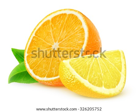 Orange and lemon slices isolated on white background with clipping path - stock photo