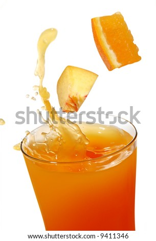 orange and peach juice with splash - stock photo