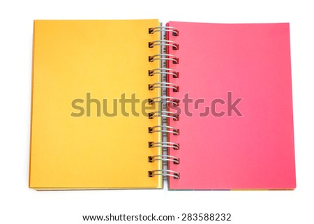 Orange and red paper in note book