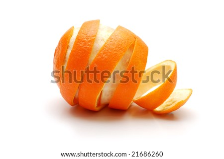 Orange and rind cutaway in spiral shape - stock photo