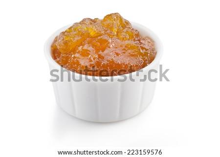 orange and sea-buckthorn marmalade isolated on white background  - stock photo