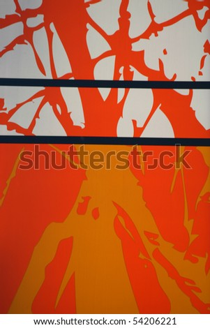 Orange and white graphic wall background.