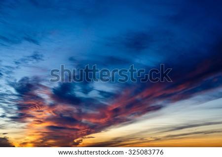 Orange and yellow colors sunset sky. - stock photo