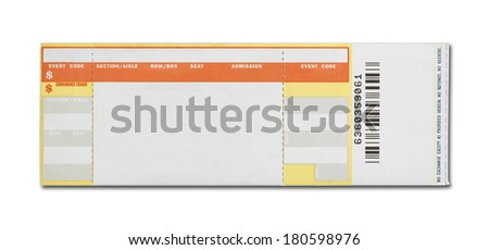 Orange and Yellow Event Ticket Isolated on White Background. - stock photo