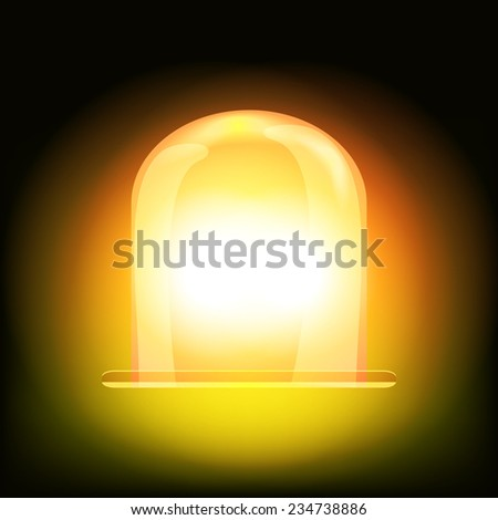 Orange and yellow spinning and glowing flasher for car or vehicle roof. Warning signal - stock photo