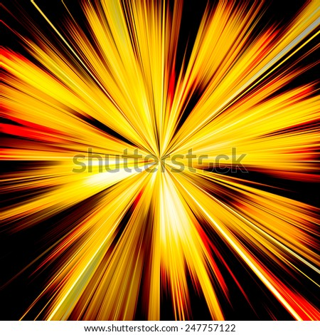 Orange and yellow sunburst beams illustration - stock photo