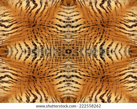 Orange and yellow tiger fur kaleidoscope pattern - stock photo