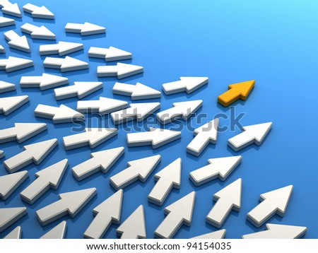 Orange arrow ahead of many standard white arrows. Concept of leadership and followers - as computer generated image - stock photo