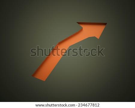Orange arrow business concept rendered on black background - stock photo