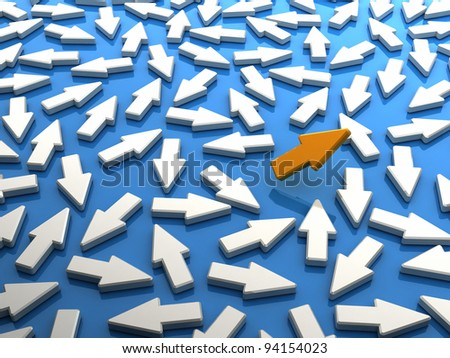 Orange arrow flews from crowd. Concept of individualism, strength and courage - stock photo