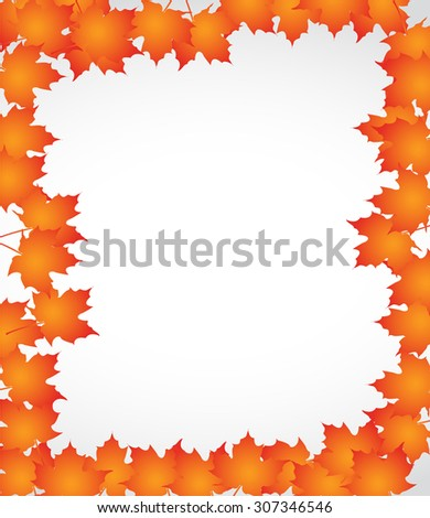 orange autumn border leaves illustration design over a white background