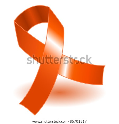 Orange awareness ribbon over a white background with drop shadow, simple and effective. - stock photo