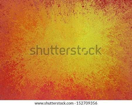 orange background with gold color splash in center for copyspace, bright yellow background with red orange fiery border grunge texture for brochure or website