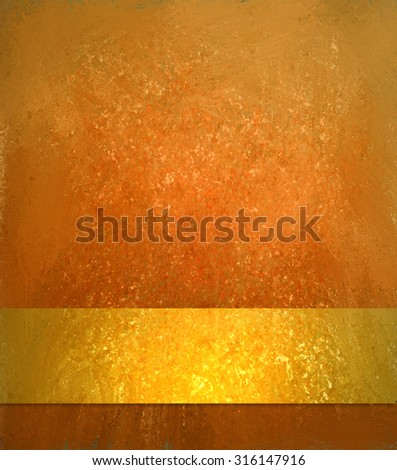 Orange background with gold ribbon, luxury shiny gold texture, Vintage autumn background. Thanksgiving or Halloween background colors. - stock photo
