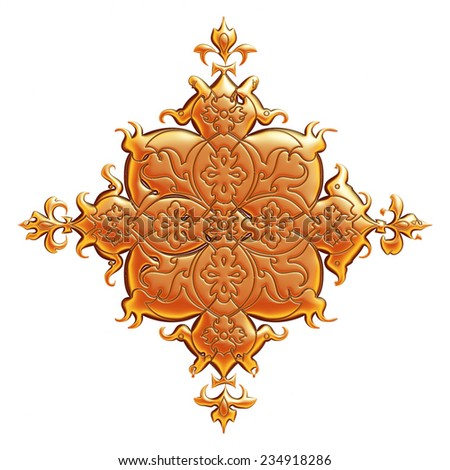 Orange banner with floral ornament for Your design on white background.