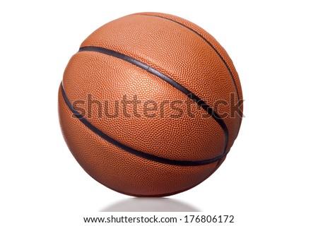 Orange basket ball, isolated on white background - stock photo