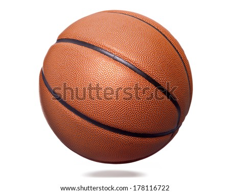 Orange basket ball, isolated on white background - stock photo
