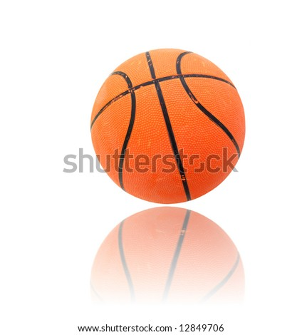 orange basket ball over a reflective surface - stock photo