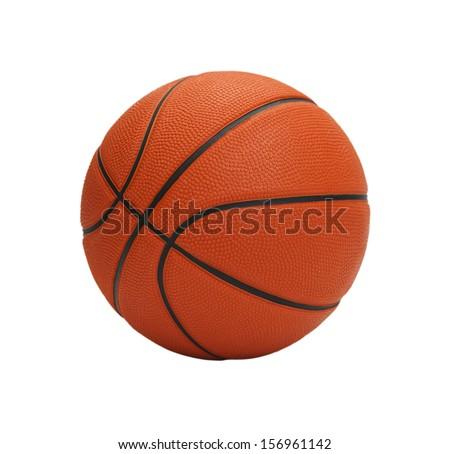 Orange Basketball Isolated on White Background. - stock photo