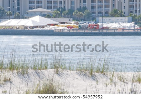 ORANGE BEACH, AL - JUNE 10: A BP staging area in Orange Beach, AL is shown on June 10, 2010 as thick oil starts to wash ashore across the tourist resort. - stock photo