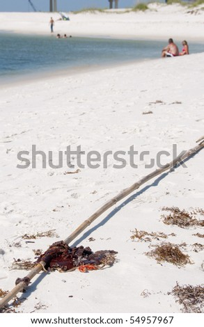 ORANGE BEACH, AL - JUNE 10: A large oil soaked rag lies on the beach on June 10, 2010 at Perdido Pass, AL. Tourists are present in background. - stock photo