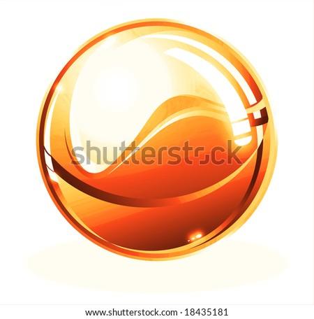 Orange Beautiful Sphere - stock photo