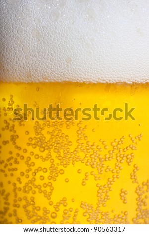 Orange beer and white froth background. Closeup view. - stock photo