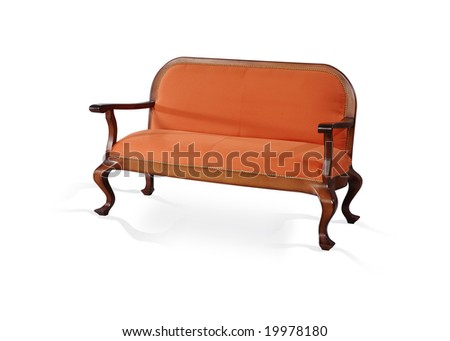 orange bench with elbow-rests on a white background