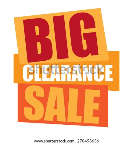 orange big clearance sale sticker,  icon,  label, banner, sign isolated on white  - stock photo