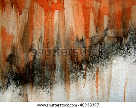 Orange, Black and White Watercolor Background 1 - stock photo
