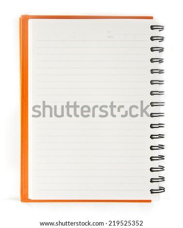 Orange blank notebook open on white background - stock photo
